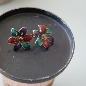 Jewelry - Vintage 80's flower earrings